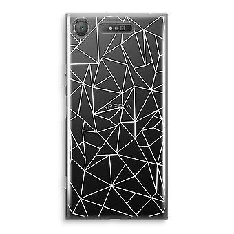 Sony Xperia XZ1 Transparant cas - géométrique des lignes blanc
