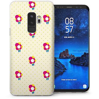 Samsung Galaxy S9 Plus Floral Print Polka Dot TPU Gel Case - wit