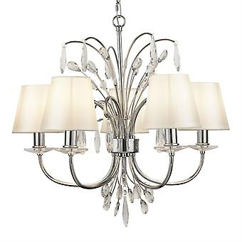 Bloom Chrome And Crystal Glass Five Light Ceiling Light With White - Searchlight 6825-5cc