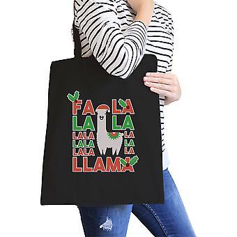 Falala Llama Black Canvas Tote Funny Holiday Tote Portable