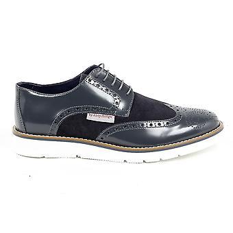 Andrew Charles Mens Brogue Oxford Shoe 914 Abrasivato Cam Grigio Bleu