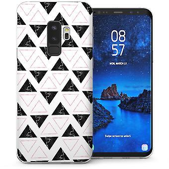 Samsung Galaxy S9 Plus Marble Geometric Triangles TPU Gel Case - White