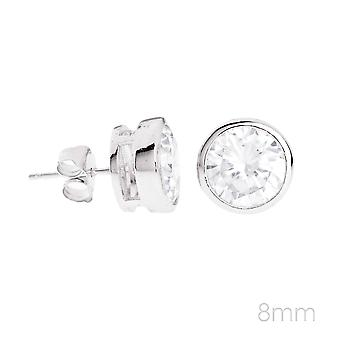 925 sterling silver round invisible bezel earrings -