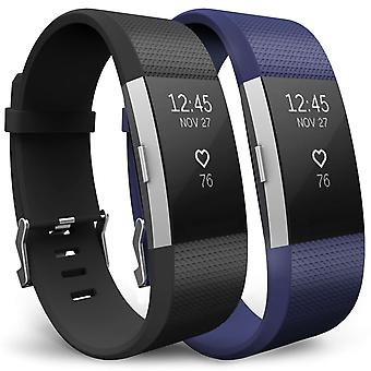 Yousave Fitbit opladen 2 band 2-Pack (groot) - zwart/blauw
