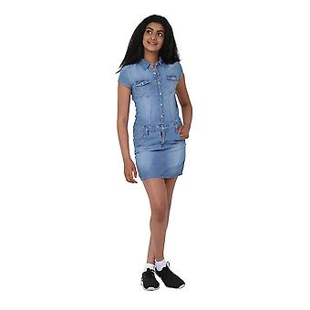 Denim Dress - Button Front Cap sleeve Jean Dress