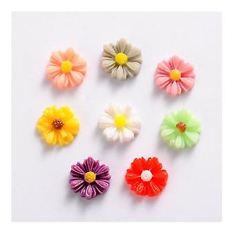 Packet 15 x Mixed Resin Flat Back 9mm Flower 2.5mm Thick Cabochon Y02955