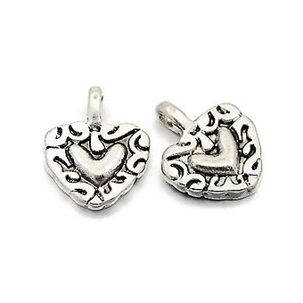 Packet 15 x Antique Silver Tibetan 20mm Heart Charm/Pendant ZX13870