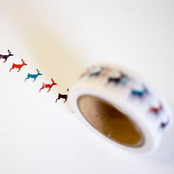 Elk Washi Tape 10m Mixed Colour Reindeer Christmas Craft Tape