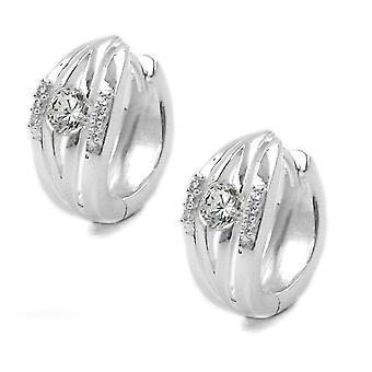 Elegant Creole partially frosted silver with cubic zirconia Creole hinged flip top Silver 925