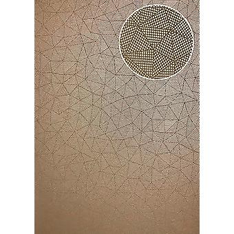 Graphic wallpaper ATLAS XPL-590-9 non-woven wallpaper structures with geometric forms shimmering beige gold gold Brown 5.33 m2