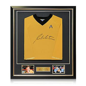 William Shatner Signed Star Trek Jersey In Deluxe Black Frame With Gold Inlay