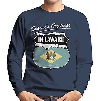 Seasons Greetings Delaware State Flag Christmas Men's Sweatshirt
