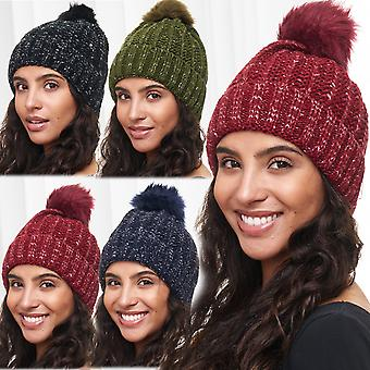 Ladies Hat Unicoloured Mottled Beanie Bommel Cap Knitted Hat New Warm Fake Fur