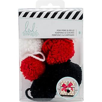 Heidi Swapp Gift Wrapping Embellishments Kit-Pop Poms & Bells 9 Pieces