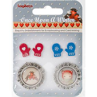 Scrapberry's Once Upon A Winter Metal/Epoxy Embellishments-#4, 2 Pairs Of Mittens & 2 Cameos