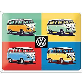 VW Volkswagen Camper vierfarbig große geprägtem Metall unterzeichnen 400 X 300 Mm