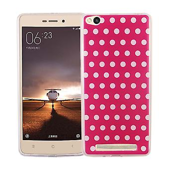 Mobile case for Xiaomi Redmi 3 cover case protective bag motif slim TPU + armor protection glass 9 H polka dot pink