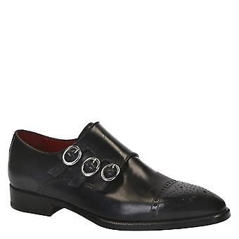 Handmade black leather men's triple monk shoes