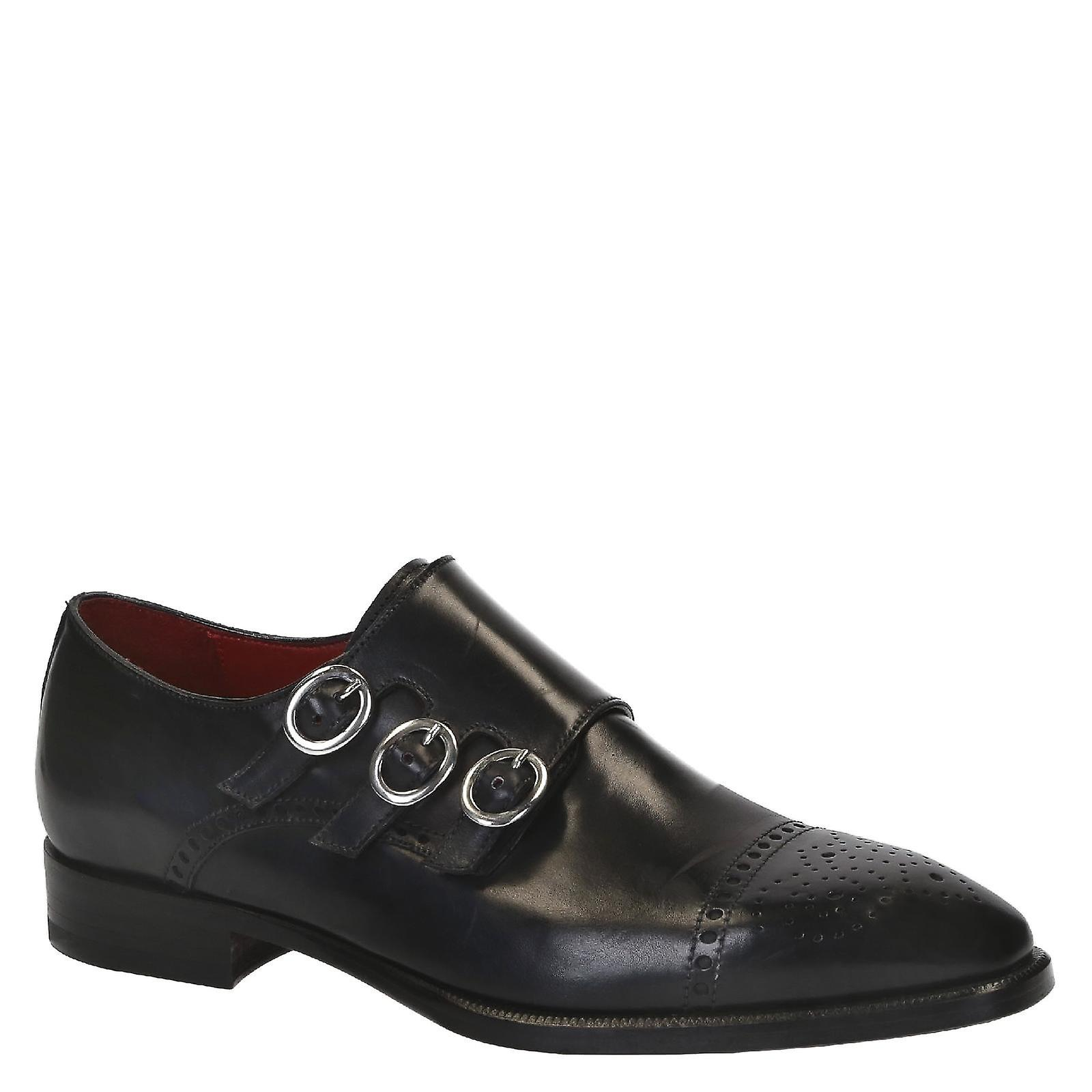 Handmade monk black leather men's triple monk Handmade shoes e5b97d