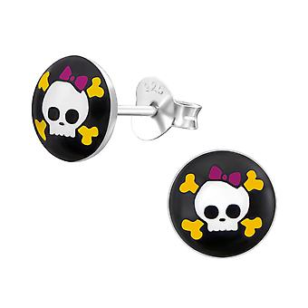 Skull - 925 Sterling Silver Colourful Ear Studs