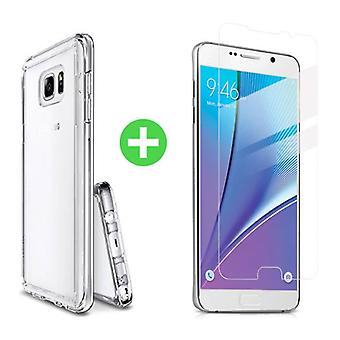 Stuff Certified ® Samsung Galaxy Note 5 Transparent TPU Case + Screen Protector Tempered Glass