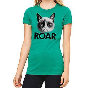 Kelly verde divertido t-shirt gato gruñón rugido femenino