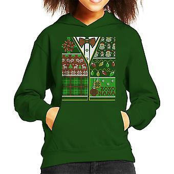 Grandmas Gift Christmas Knit Cardiagan Pattern Kid's Hooded Sweatshirt