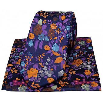 Posh and Dandy Flowers Luxury Silk Tie and Handkerchief Set - Navy/Purple/Orange