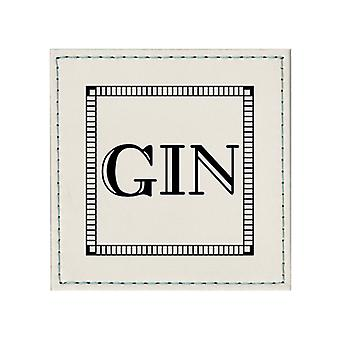 iStyle Faux Leather Gin Coaster, White