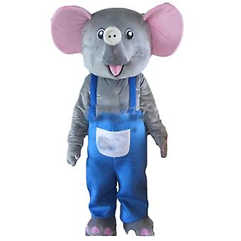 mascot elephant gray and pink, with blue overalls SPOTSOUND