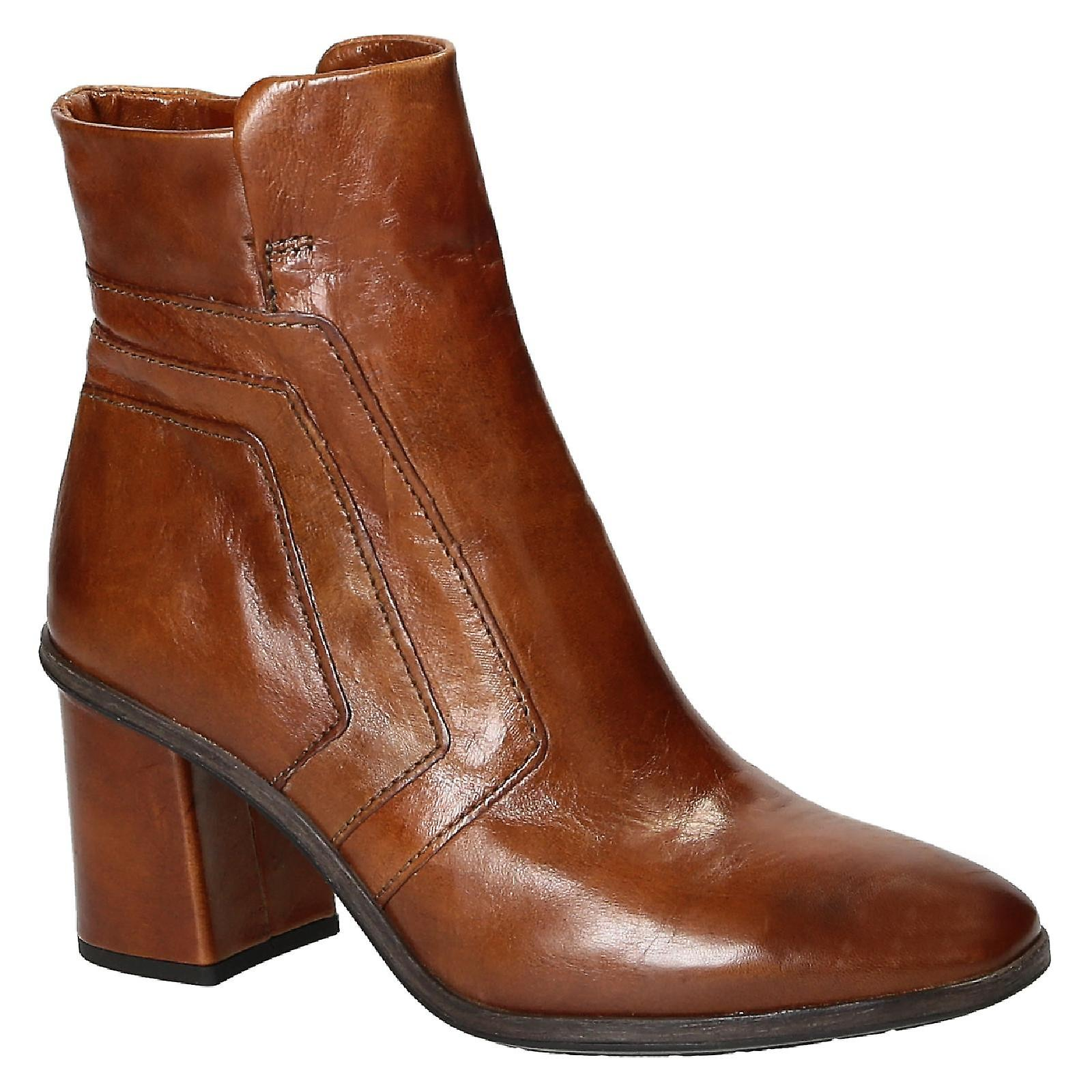Leonardo scarpe heeled ankle stivali in Marronee leather | comfort  | Sig/Sig Ra Scarpa