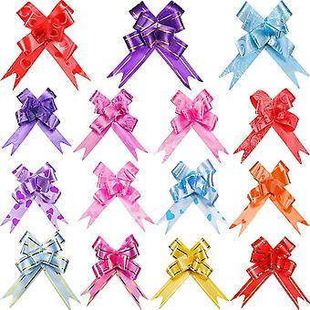 100Pcs elegante Festival assorterte farger PVC trekke buer/Christmas gave knute båndet strenger for gavepakking eller Floral desember