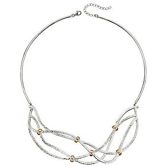 Elements Silver Statement Hammered Necklace - Silver/Rose Gold