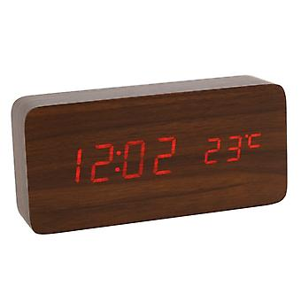 Digital LED alarm clock in Wood design-Brown/Red
