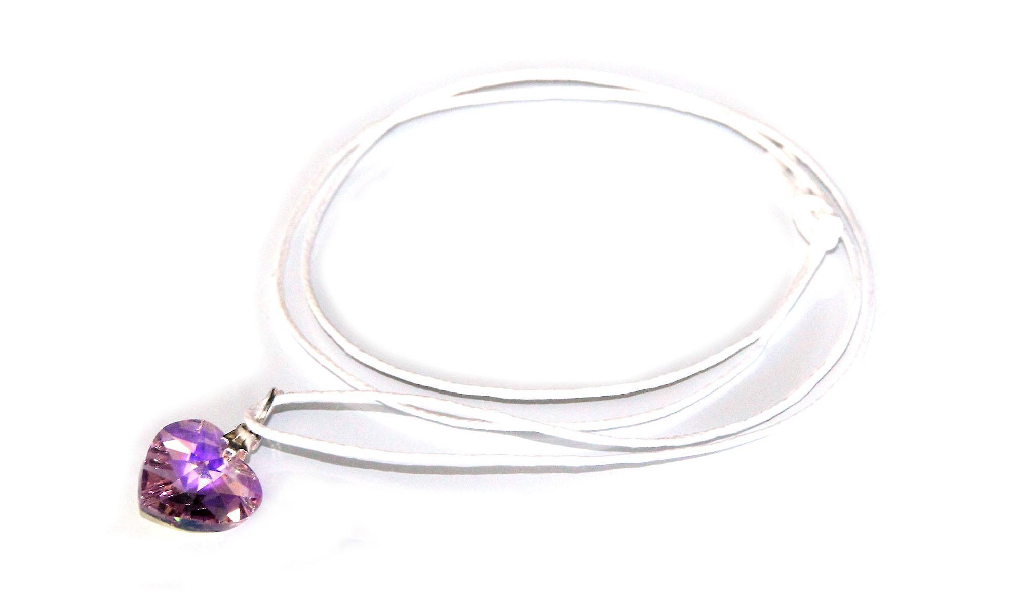 Waooh - Bijoux - Swarovski / Pendentif coeur violet avec cordon ciré