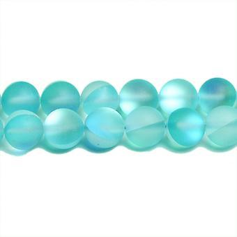 Nitką 62 + blado niebieskie szkła 6mm gładkie matowe okrągły koraliki CB31152-1