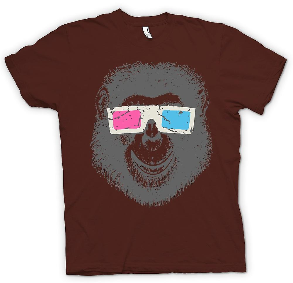 Mens T-shirt - Monkey Ape 3D Glasses - Cool Graphic Design