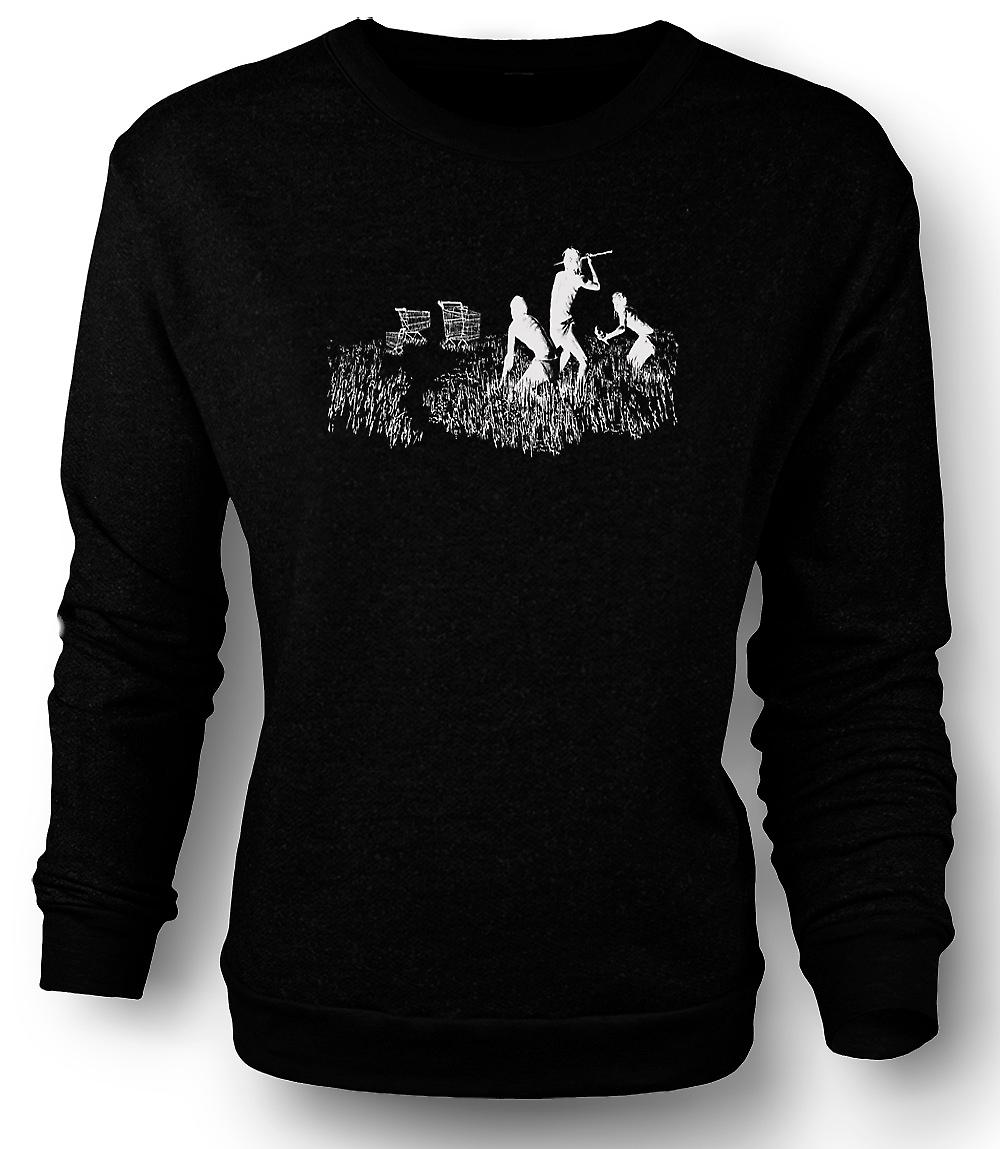 Mens Sweatshirt Banksy Graffiti Art - Hunters