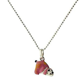 TOC Girls Sterling Silver 3D Pink Puppy Pendant Necklace 14