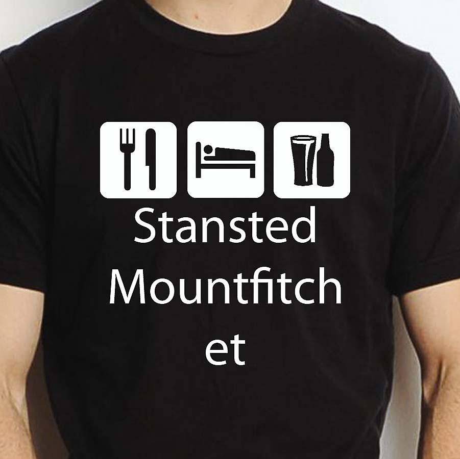 Eat Sleep Drink Stanstedmountfitchet Black Hand Printed T shirt Stanstedmountfitchet Town