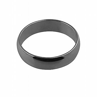 Platinum plain D shaped Wedding Ring 6mm wide in Size Z