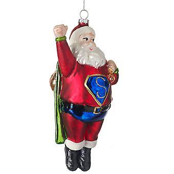 Gisela Graham Glass Santa Robot Collectable Christmas Decoration