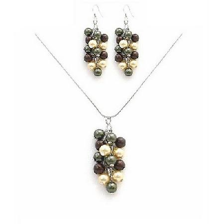 Prom Jewelry Cheap Prom Necklace Set In Multicolored Pearls Set