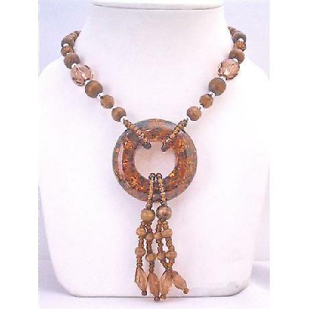 Jasper Coated Round Pendant w/ Drop Down Necklace w/ Fancy Glass Beads