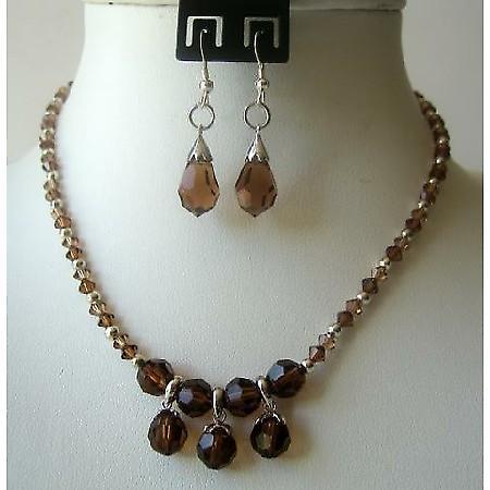 Handmade Smoked Topaz Crystals TearDrop Necklace Set Custom Jewelry