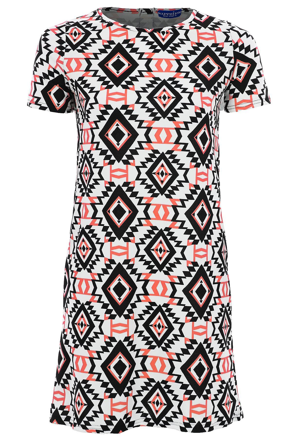 Ladies Celeb Neon Luminous Coral Green Aztec Print Short Shift Women's Dress