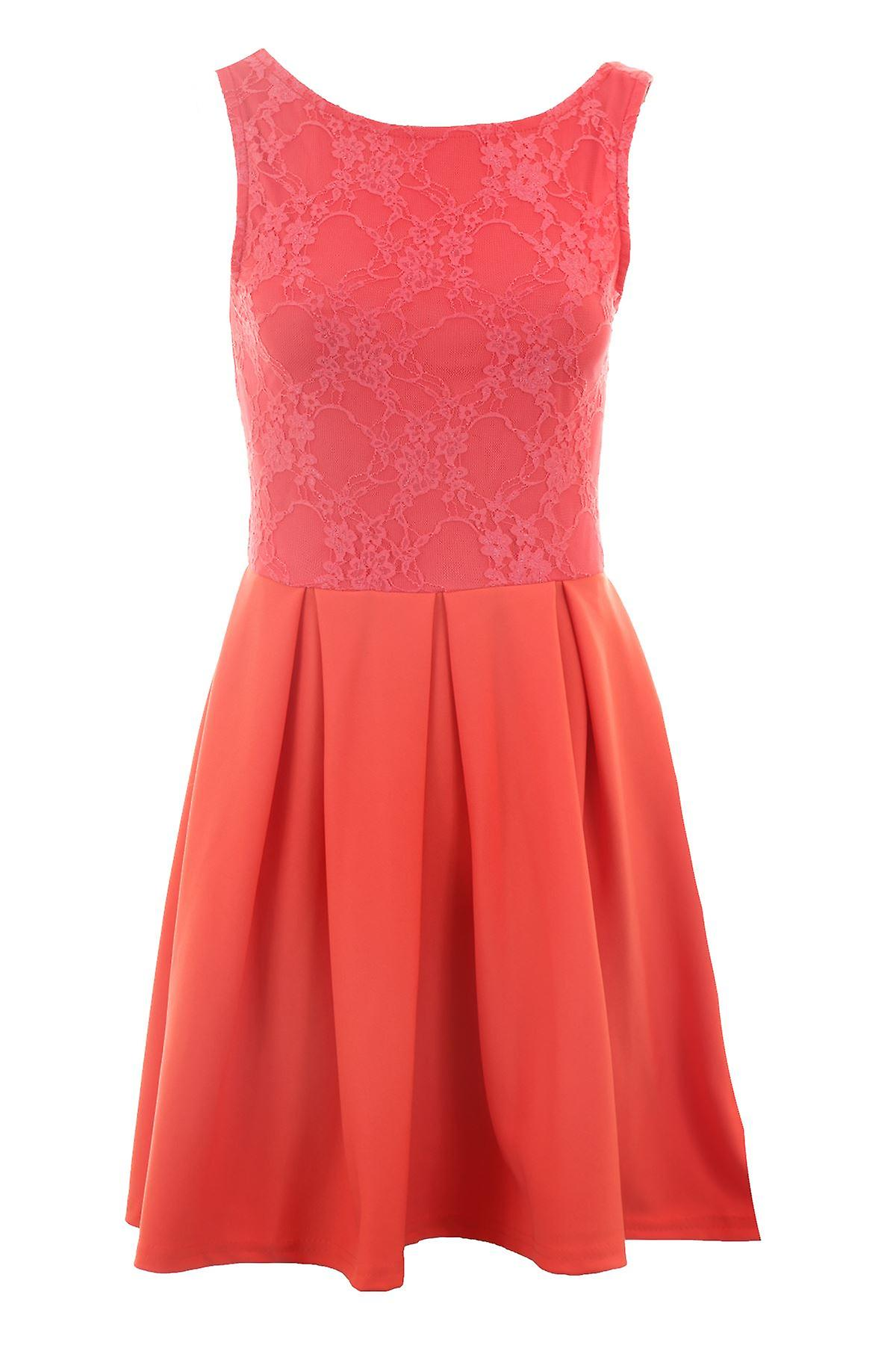 New Ladies Sleeveless Floral Lace Top Skater Skirt Women's Dress