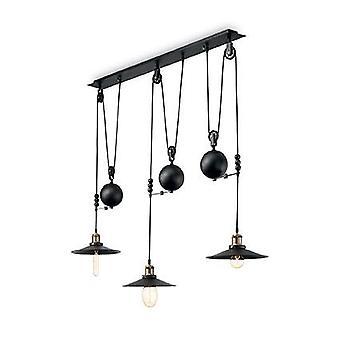 Ideal Lux - Up And Down Black Enamel Three Light Adjustable Pendant IDL136349