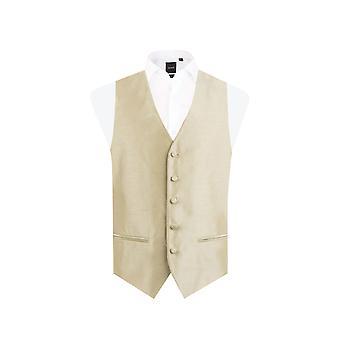 Dobell Mens Gold Waistcoat Regular Fit Dupion 5 Button