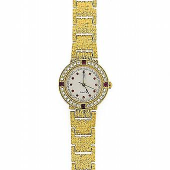 Damer röd CZ guld tonen armband Strap Dress Watch GOTW103